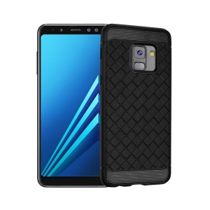 Woven Pattern Soft TPU Mobile Case for Samsung Galaxy A8+ (2018) - Black