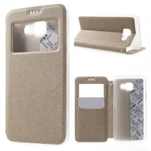 Cross Texture View Window Leather Case for Samsung Galaxy A3 SM-A310F (2016) - Champagne