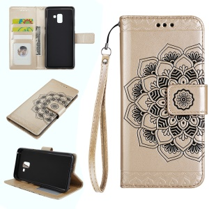 For Samsung Galaxy A8+ (2018) Imprinted Mandala Pattern Leather Wallet Mobile Case - Gold