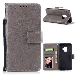 Imprinted Flower Pattern PU Leather Stand Wallet Phone Shell for Samsung Galaxy S9 - Grey