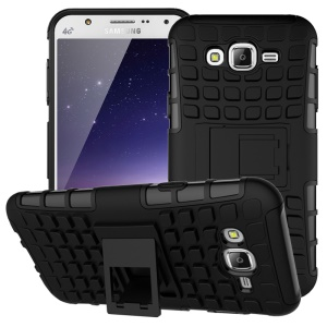 TPU PC Hybrid Case for Samsung Galaxy J7 SM-J700F with Kickstand - Black