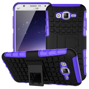 TPU PC Combo Shell for Samsung Galaxy J7 SM-J700F with Kickstand - Purple