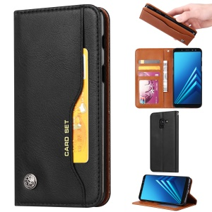 For Samsung Galaxy A8 (2018) PU Leather Wallet Stand Protective Casing - Black