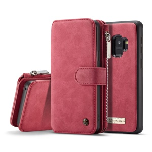 CASEME 2-in-1 Detachable Split Leather Wallet Mobile Cover for Samsung Galaxy S9 SM-G960 - Red