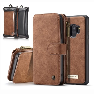 CASEME 14 Slots Detachable Genuine Split Leather Wallet Case for Samsung Galaxy S9 with Retail Packaging - Brown