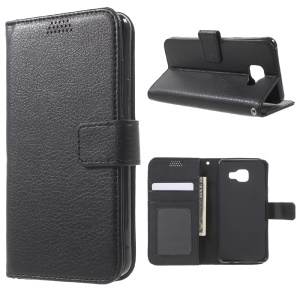 Lychee Skin Leather Stand Case for Samsung Galaxy A3 SM-A310F (2016) - Black