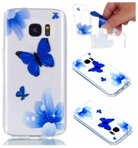 Blue Flowers and Butterflies