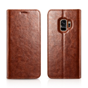 XOOMZ Crazy Horse Texture Leather Wallet Stand Case for Samsung Galaxy S9 SM-G960 - Brown