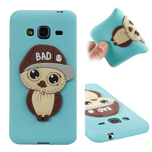 Cute 3D Male Owl TPU Soft Mobile Cover Case for Samsung Galaxy J3 (2016) / J3 - Cyan