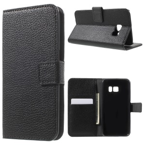 Litchi Wallet Stand Leather Case for Samsung Galaxy S7 - Black