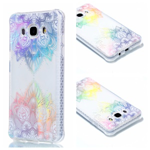 Plating IMD Shockproof TPU Cover for Samsung Galaxy J7 (2016) SM-J710 - Colorized Flower