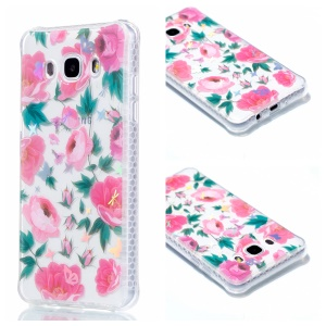 Plating IMD Shockproof TPU Cover for Samsung Galaxy J7 (2016) SM-J710 - Beautiful Blossom