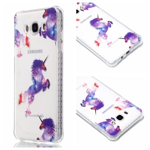 Plating IMD Shockproof TPU Cover for Samsung Galaxy J7 (2016) SM-J710 - Unicorns