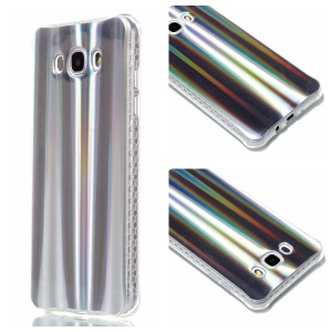 Plating IMD Shockproof TPU Cover for Samsung Galaxy J7 (2016) SM-J710 - Silver Vertical Stripes