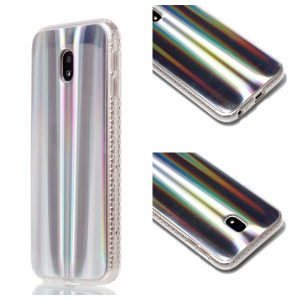 Plated IMD Shockproof TPU Cover for Samsung Galaxy J5 (2017) EU Version / J5 Pro (2017) - Silver Vertical Stripes
