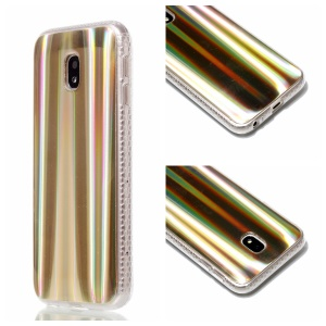 Plated IMD Shockproof TPU Cover for Samsung Galaxy J5 (2017) EU Version / J5 Pro (2017) - Gold Vertical Stripes