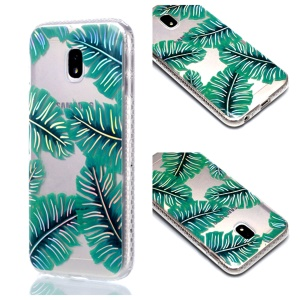 Plated IMD Shockproof TPU Cover for Samsung Galaxy J5 (2017) EU Version / J5 Pro (2017) - Green Leaves