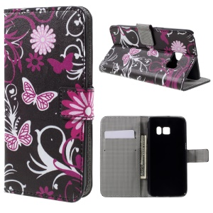 Wallet Leather Cover for Samsung Galaxy S7 - Butterfly Flowers