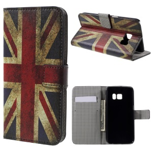 Leather Stand Cover for Samsung Galaxy S7 - Vintage UK Flag