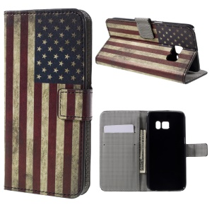 Leather Stand Case for Samsung Galaxy S7 - Retro American Flag