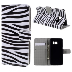 Wallet Leather Stand Shell for Samsung Galaxy S7 - Zebra Stripes