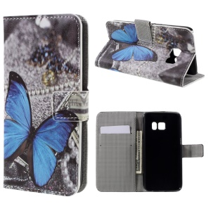 Wallet Leather Phone Cover for Samsung Galaxy S7 - Blue Butterfly