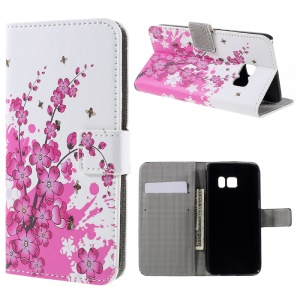 Magentic Leather Stand Cover for Samsung Galaxy S7 - Plum Blossom