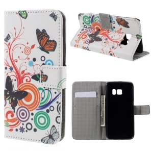Card Holder Leather Stand Cover for Samsung Galaxy S7 - Butterfly Circles