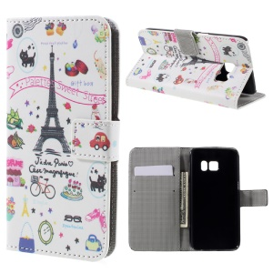 Card Holder Leather Case for Samsung Galaxy S7 - Eiffel Tower and Flowers
