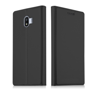 Auto-absorbed Leather Smart Case with Stand for Samsung Galaxy J2 Pro 2018 - Black