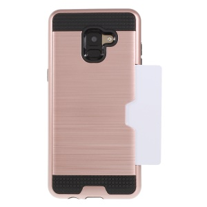 Brushed Card Holder PC + TPU Combo Mobile Phone Cover for Samsung Galaxy A8 (2018) - Rose Gold