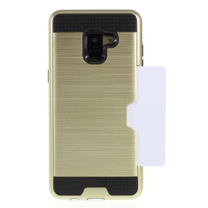 Brushed Card Holder PC + TPU Combo Mobile Phone Shell for Samsung Galaxy A8 (2018) - Gold
