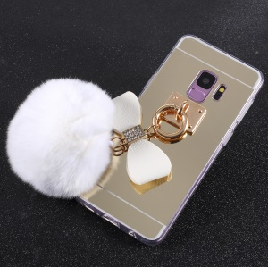 Soft Furry Ball Fingering Holder Mirror Surface TPU Case for Samsung Galaxy S9 SM-G960 - White