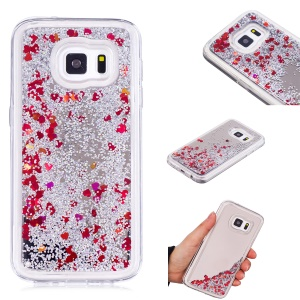 Floating Glitter Sequins Quicksand Mirror Surface TPU Mobile Cover for Samsung Galaxy S7 G930 - Silver