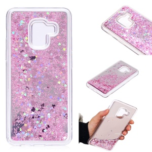 Floating Glitter Sequins Quicksand Mirror Surface TPU Back Casing for Samsung Galaxy A8 (2018) - Pink