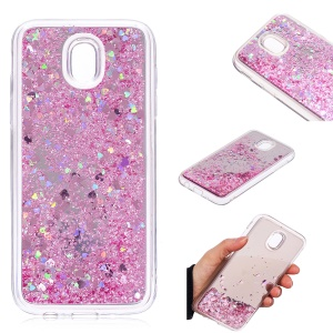 Dynamic Glitter Sequins Quicksand Mirror Surface TPU Mobile Case for Samsung Galaxy J5 (2017) EU Version / J5 Pro (2017) - Pink