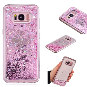 Dynamic Glitter Sequins Quicksand Mirror Surface TPU Case Cover for Samsung Galaxy S8 SM-G950 - Pink