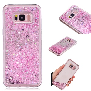 Floating Glitter Sequins Quicksand Mirror Surface TPU Cell Phone Case for Samsung Galaxy S8 Plus SM-G955 - Pink