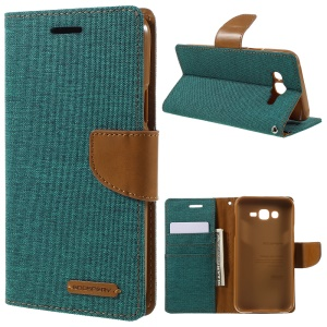 MERCURY GOOSPERY Canvas Leather Stand Cover for Samsung Galaxy J7 SM-J700F - Green