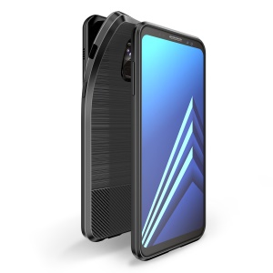 DUX DUCIS S Series Carbon Fiber Texture Brushed TPU Back Case for Samsung Galaxy A8+ (2018) - Black