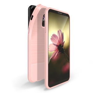 DUX DUCIS S Series Carbon Fiber Texture Brushed TPU Back Shell for Samsung Galaxy A8 Plus (2018) - Pink