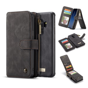 CASEME 2-in-1 Detachable Split Leather Wallet Case for Samsung Galaxy S9+ SM-G965 - Black
