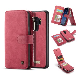 CASEME 2-in-1 Detachable Split Leather Wallet Cover for Samsung Galaxy S9+ SM-G965 - Red