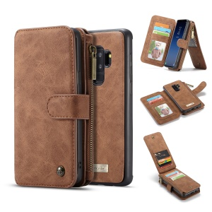 CASEME 2-in-1 Detachable Split Leather Wallet Mobile Shell for Samsung Galaxy S9 Plus SM-G965 - Brown