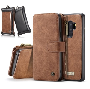 CASEME for Samsung Galaxy S9 Plus G965 2-in-1 Detachable Split Leather Wallet Cell Phone Case with Retail Package - Brown