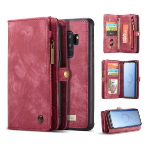 CASEME Detachable 2-in-1 Multi-slot Wallet Vintage Split Leather Case for Samsung Galaxy S9 Plus SM-G965 - Red