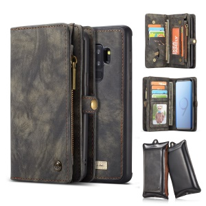 CASEME 2-in-1 Multi-slot Wallet Vintage Split Leather Case for Samsung Galaxy S9+ SM-G965 - Grey