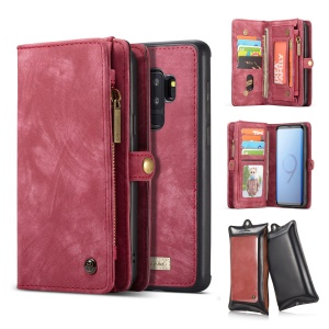 CASEME 2-in-1 Multi-slot Wallet Vintage Split Leather Cover for Samsung Galaxy S9+ SM-G965 - Red