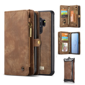 CASEME 2-in-1 Multi-slot Wallet Vintage Split Leather Case Phone Shell for Samsung Galaxy S9+ SM-G965 - Brown