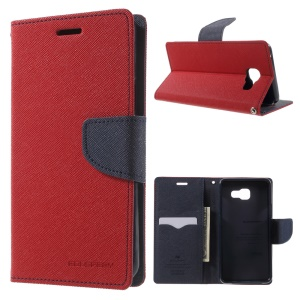 MERCURY GOOSPERY Leather Wallet Cover for Samsung Galaxy A5 SM-A510F (2016) - Red